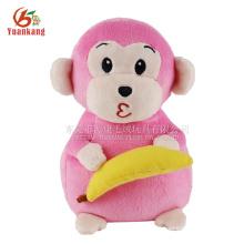 Guangdong stuffed pink monkey with banana plush toy