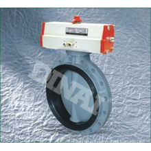 Non-poisonous Upvc / Pvc Butterfly Water Valve For Chemical Plant With Pneumatic Actuator