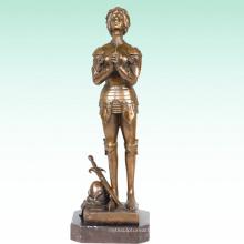 Mujer Home Deco Soldier Saint Joan Bronce Escultura Estatua Tpy-447