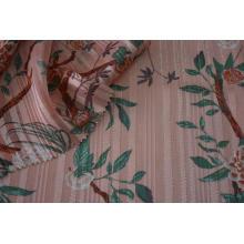 Polyester Chiffon Satin Stripe Silver Lurex Dobby Fabric