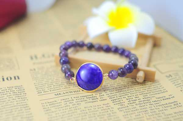 Amethyst Bracelet with Agate Pendant Piece Gemstone jewelry