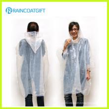 Chaqueta de lluvia con capucha y cuello redondo claro
