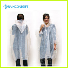 Transparent White Adult PE Disposbale Raincoat Rpe-076