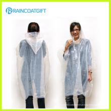 Casaco de chuva com capuz claro PE