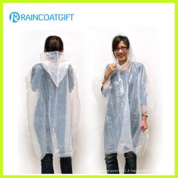 Blanc transparent adulte PE Disposbale Raincoat Rpe-076