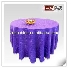 Conception à la mode fabrication directe faite en gros polyester sur mesure mariée en tissu de table en violet