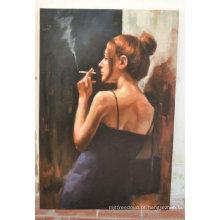 Pintura a óleo do retrato da mulher de fumo