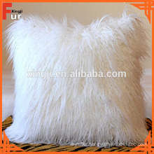 Bleached White 50X50cm Mongolian Fur Cushion