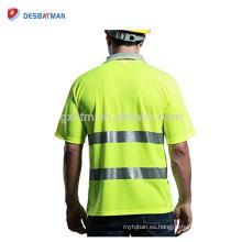 Camisa de polo de seguridad de alta visibilidad 100% poliéster de manga corta para hombres Refleja polo de seguridad Cool Workwear de seguridad amarilla Top EN20471