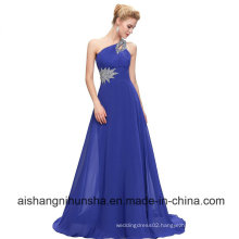 One-Shoulder Floor-Length Chiffon Beading Long Bridesmaid Dress