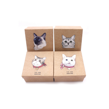 Retail Aangepaste Cat Logo Brown Paper Gift Box