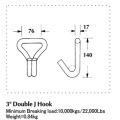 4 Inch Heavy Duty Double J Hook with 22000LBS Capacity
