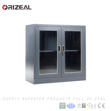 Orizeal 2 swing glass door steel cabinet with 1 adjustable shelf and plastic handle lock(OZ-OSC029)