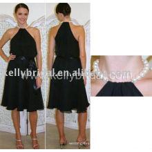 Venda quente preto fábrica vestido de noite direto 2015 Sexy alto pescoço Backless preto tafetá laço com contas curto vestidos de casamento