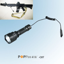 C8t 500lumens перезаряжаемый Xml T6 светодиодный тактический фонарик, с Крысиный хвост переключатель