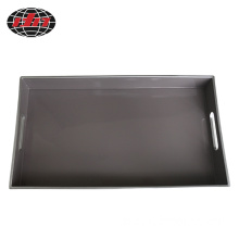 Gray Rectangle Plastic Tray With Handles