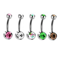 Titanium Press Fit Double Gem CZ Navel Button Belly Ring Bananabell Body Jewellery