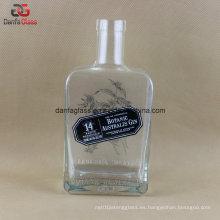 750ml botella de vidrio cuadrado rectangular con grabado logotipo y pantalla de impresión etiqueta de la decoración