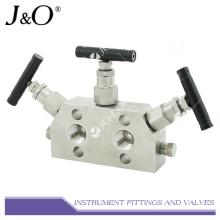 Múltiple de válvula de gas natural de 3 vías para instrumentos de acero inoxidable