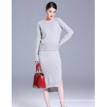 Ladies' pure cashmere suit with long sleeves pullover and three quarters skirt with slit