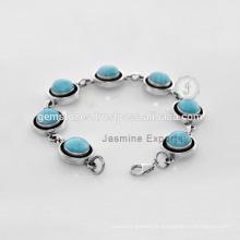 Fornecedor de atacado para pedras preciosas turquesa com pulseira de moda em prata esterlina para casamento