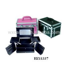 cabeleireiro de alumínio levar casos com 2 gavetas e 2 bandejas dentro
