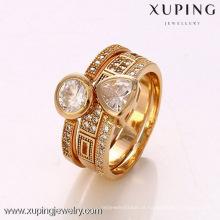 12363- Xuping 18k banhado a ouro jóias artificiais anéis anéis conjunto de moda