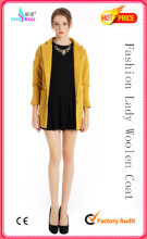 Lady Fashion Sexy Long Sleeve Woolen Coat Overcoat Outerwear Garment Clothing Apparel (SR-5004)