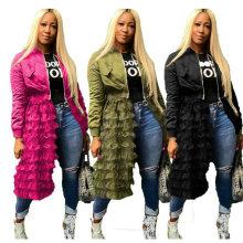 New Product Fall Autumn Designer Womens Jacket Blazer Lace Tulle Long Jacket Women
