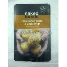 Pukekohe Batata & Leek Soup alta qualidade ziplock saco, resealable foil alimentos bolsa para atacado
