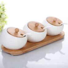 Ceramic Salt Jar Spice Canister Bamboo Lid
