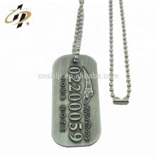 Étiquette de chien militaire en alliage de zinc sur mesure en argent antique avec collier