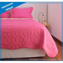 Rosa einfarbiges Polyester-Steppdecken-Set