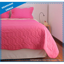 Pink Solid Color Polyester Quilt Set