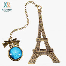 Promotion Gift Alloy Casting Eiffel Tower Metal Bookmark with Pendant