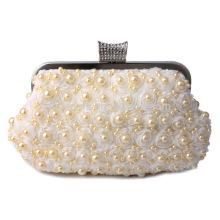 Perle blanche perlée en soirée Sac à main en soie Sac de mariée pour la soirée de mariage Soirée à la mode Sacs à main nuptiaux B00003 sac à main femme