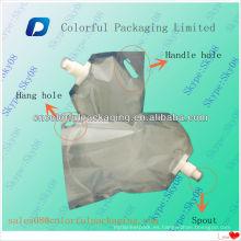 Bolsa de vertido laminado / 2L Bolsa de pie transparente con pico para detergente líquido / bolsa de retoque vertical con mango
