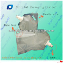 Bolsa de bico laminado / 2L Bolsa de pé transparente com bico para detergente líquido / stand up retort pouch with handle
