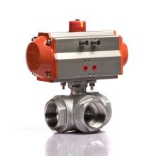 DN20 T tipo KLQD marca pneumática operado em aço inoxidável 3 vias válvula pneumática Q614F