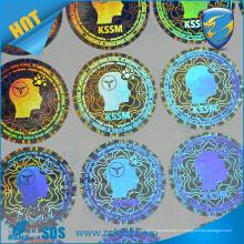 Fábrica de impresión de la pantalla de impresión holográfica color azul de impresión láser transparente de la etiqueta adhesiva de holograma transparente