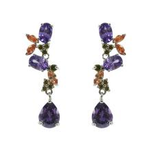 Boucles d'oreilles pendantes en argent sterling rhodié multicolore CZ