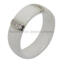 Anel de cerâmica Jóias de prata esterlina Accosseries (R21070)