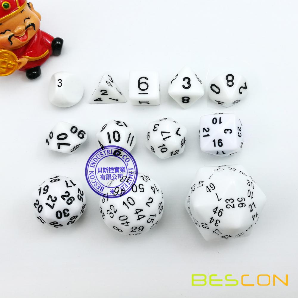 Bescon 60 Side Dice Set, 12pcs Polyhedral Dice Set D3-D60, D3 D4 D6 D8 D10 D100 D12 D20 D24 D30 D50 D60 RPG Dice Set in White