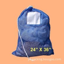 "Blue Mesh Net Draw String Laundry Bags 24"" X 36"""