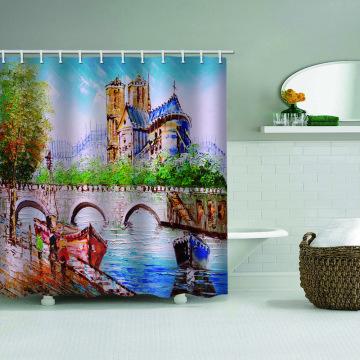 Pintura a óleo impermeável cortina de chuveiro estilo europeu decoração do banheiro