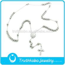 TKB-JN0035 Moderno Collar de Rosario de Acero Inoxidable de Calidad Superior Virgen María Crucifijo serenidad Granos de oración
