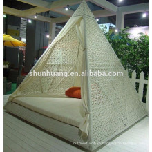 Good quality PE rattan beach daybed wicker furniture triangle sun bed