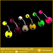 Resplandor de la bola de acrílico ULTRAVIOLETA de la moda en la joyería oscura del anillo del ombligo para perforar
