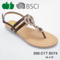 New Style Sexy Lady Beautiful Flat Sandal with Tpr Sole