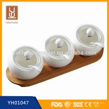 3 compartimento simples moda cerâmica jarros com tampa e colher